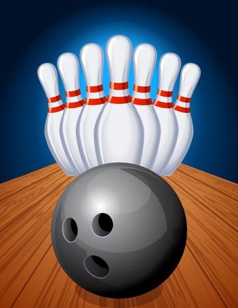 boliche: Vector illustration - bowling pins and ball Ilustração
