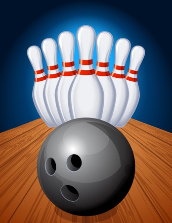 on strike: Vector illustration - bowling pins and ball Illustration