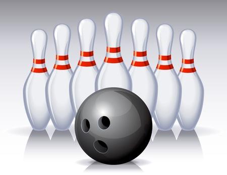 ベクトル イラスト - ピンのボウリングのボール