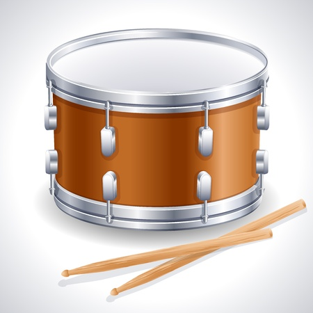 drums: drum and drumsticks Illustration