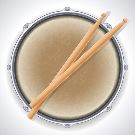drum and drumsticks 矢量图像