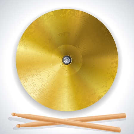 brass cymbals and drumsticks Illustration