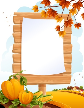 animal thanksgiving: Autumn landscape with the wooden sing