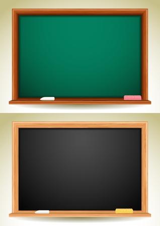 illustration - green and black blackboards