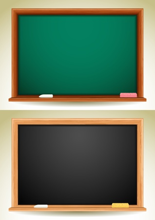 illustration - green and black blackboards