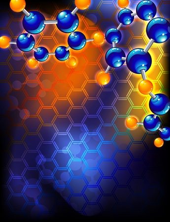 illustration - abstract background with molecular structure  矢量图像