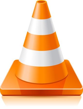 Vector illustration - cône de signalisation sur un fond blanc