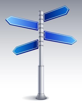 cruce de caminos: Ilustraci�n vectorial - signo de carretera en blanco
