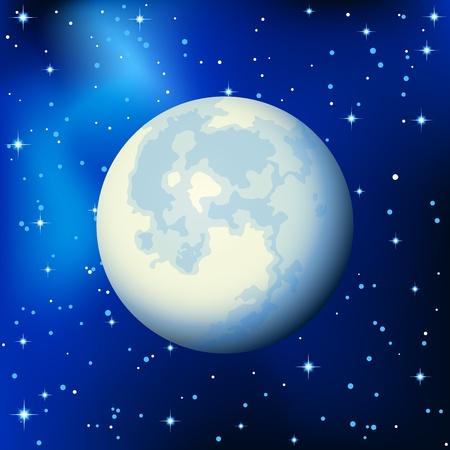 ベクトル イラスト - 星の空の満月  イラスト・ベクター素材