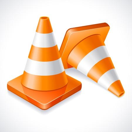 industrial danger: Dos conos de tr�fico naranja Vectores