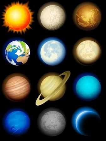 neptuno: Ilustración vectorial - conjunto de iconos de planetas Sistema Solar