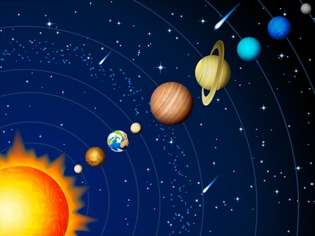 venus symbol: Vector illustration - Solar system background