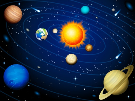 solar symbol: Vector illustration - Solar system background