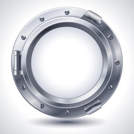 ventana ojo de buey: Ilustraci�n vectorial - Portilla met�lico cerrado