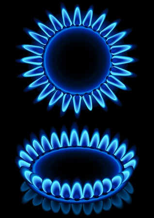 gas burner: Vector illustration - blue gas flames