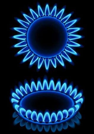 Vector illustration - blue gas flames