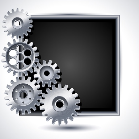 cogwheel: Illustration - gears and black chalkboard