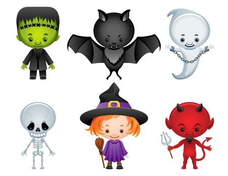 Vector illustration - Halloween characters icon set Vector