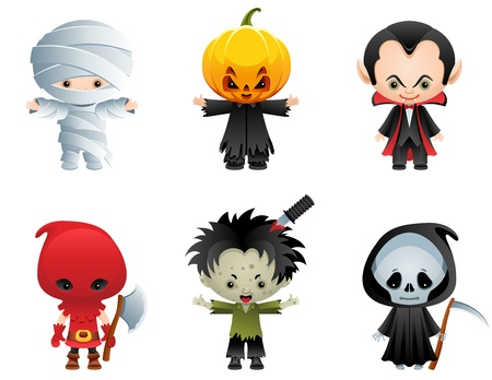 Vector illustration - Halloween characters icon set Stock Vector - 10693152