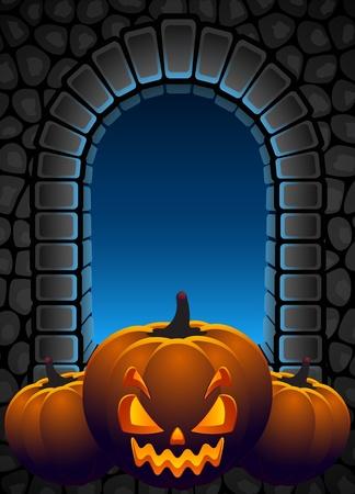 Vector illustration - Halloween background with Jack OLantern Vector