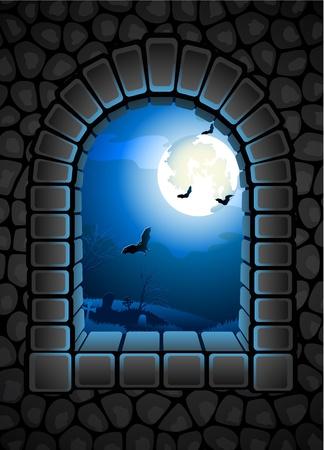 horror castle: Ilustraci�n del vector - el fondo de Halloween con el cementerio Vectores