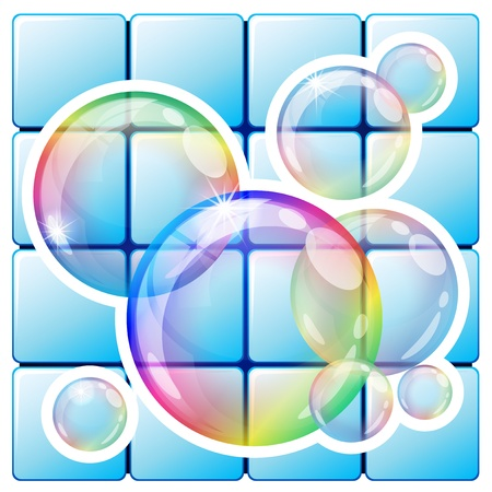 Vector illustration - soap bubbles icon. Eps10 vector file, contains transparent objects and opacity mask. Vector
