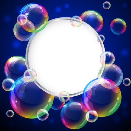 Vector illustration - soap bubbles frame. Eps10 vector file, contains transparent objects and opacity mask. Stock Vector - 13545904