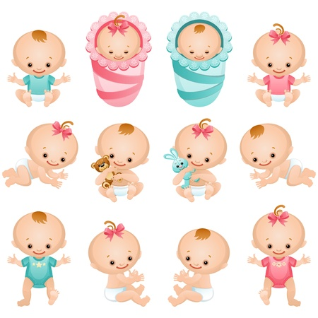 child sleeping: Vector illustration - newborn baby icon set