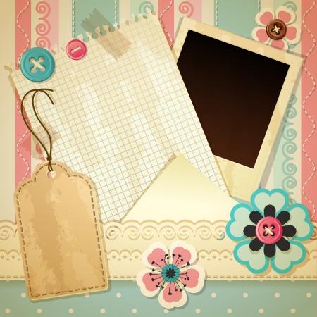 Vector illustratie - uitstekende plakboek achtergrond, eps10 Vector Illustratie