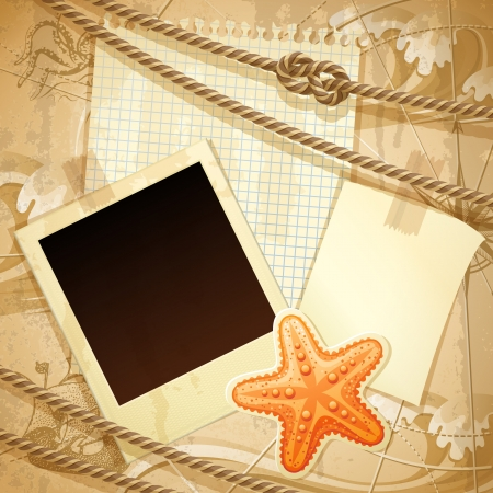 Vector illustration - vintage nautical scrapbook background, eps10 Vector