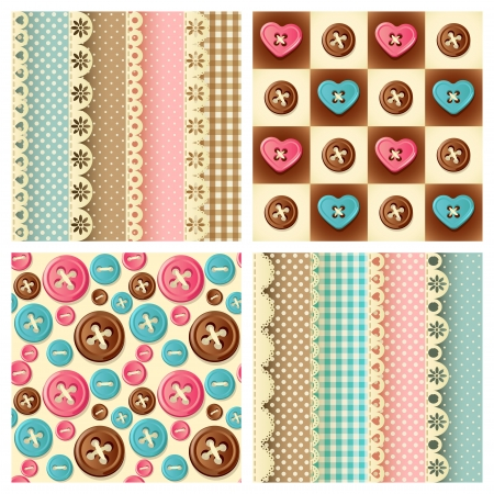Vector illustration - four fabric and buttons seamless pattern