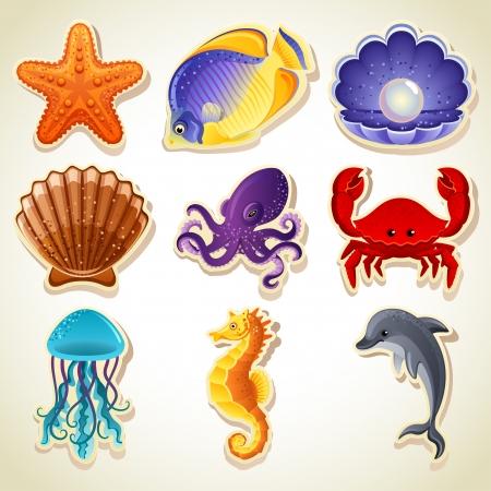 mollusk: Vector illustration - Sea animals stickers icon set Illustration