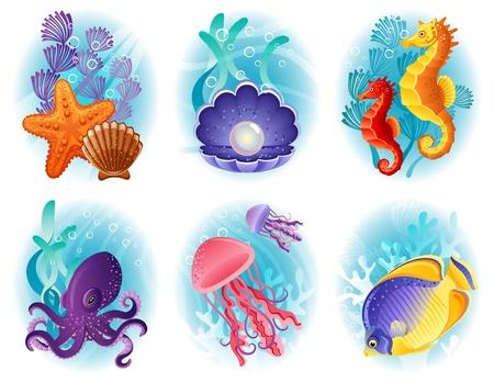 horsefish: Ilustraci�n del vector - Mar del conjunto de iconos animales Vectores