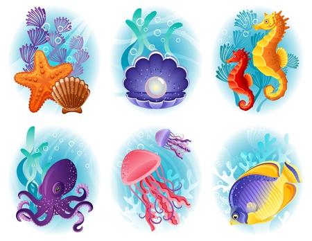 Vector illustration - Sea animals icon set