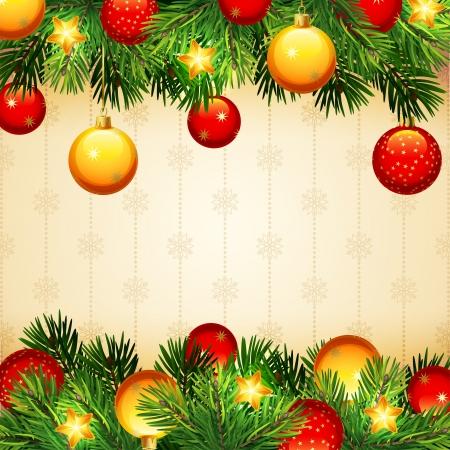 fir tree balls: Christmas background