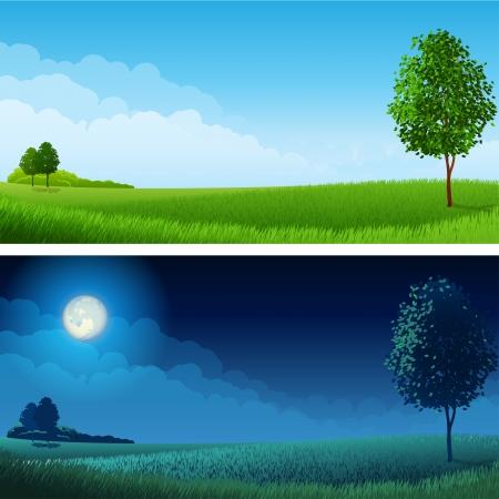 図 - 夏の風景 (昼と夜)、RGB。ブレンド モードと透明度を使用