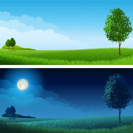 field landscape:  illustration - Summer landscape (day and night), RGB.Use transparency and blend modes Illustration