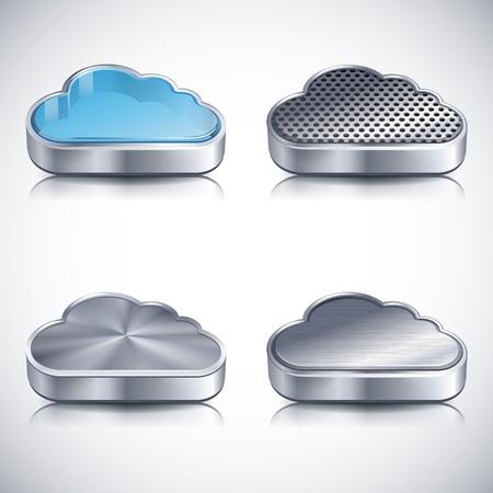 ベクトル イラスト - 雲のアイコン セット、EPS 10 RGB 使用透明性とブレンド モード