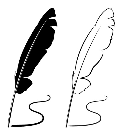 quill pen: Vector illustration - black and white feathers