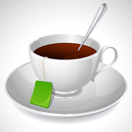 illustration of white cup of tea