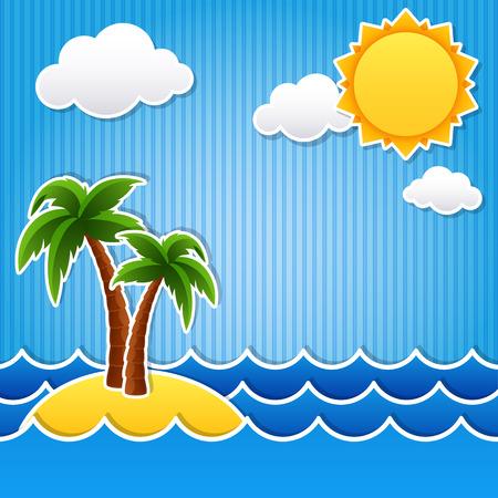 bright sun: illustration of Tropical island scrapbook background Illustration