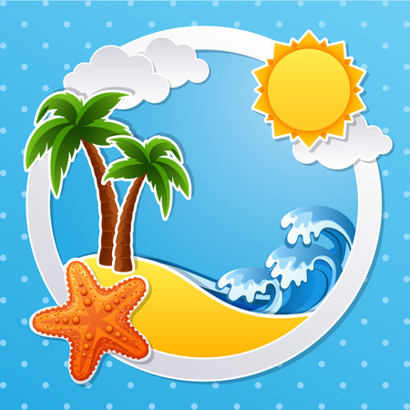 illustration of Tropical island scrapbook background Vector