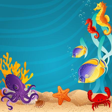 海の底の背景イラスト