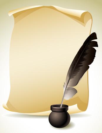 pluma de escribir antigua: ilustración de la pluma de canilla con tintero y papel de desplazamiento Vectores