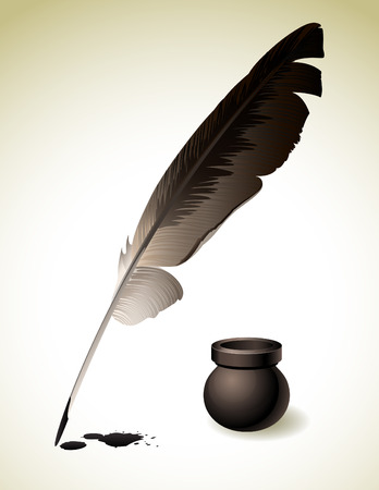 illustration of Quill Pen with inkwell Vector