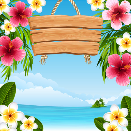 sunny beach: tropical landscape with flowers