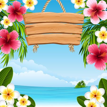 tropische landschap met bloemen Stock Illustratie