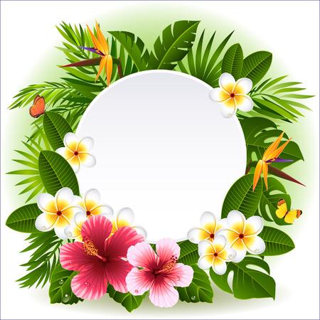 flores y plantas tropicales Ilustración de vector