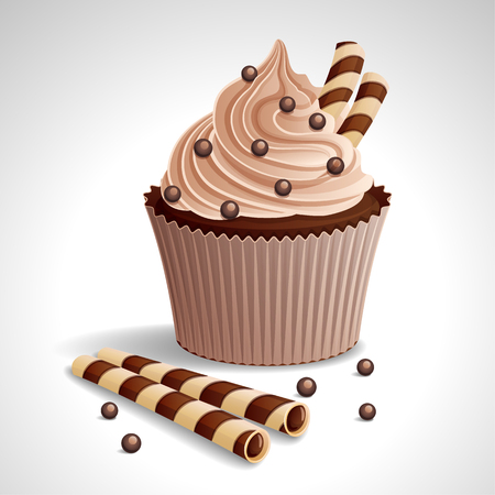 Vector illustration - Chocolate cake with cream and waffles, sprinkled with chocolate.