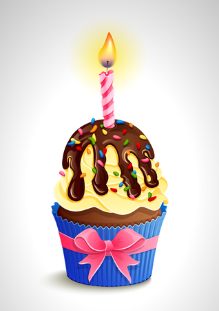 Vector illustration - birthday cupcake with candle and bow.
